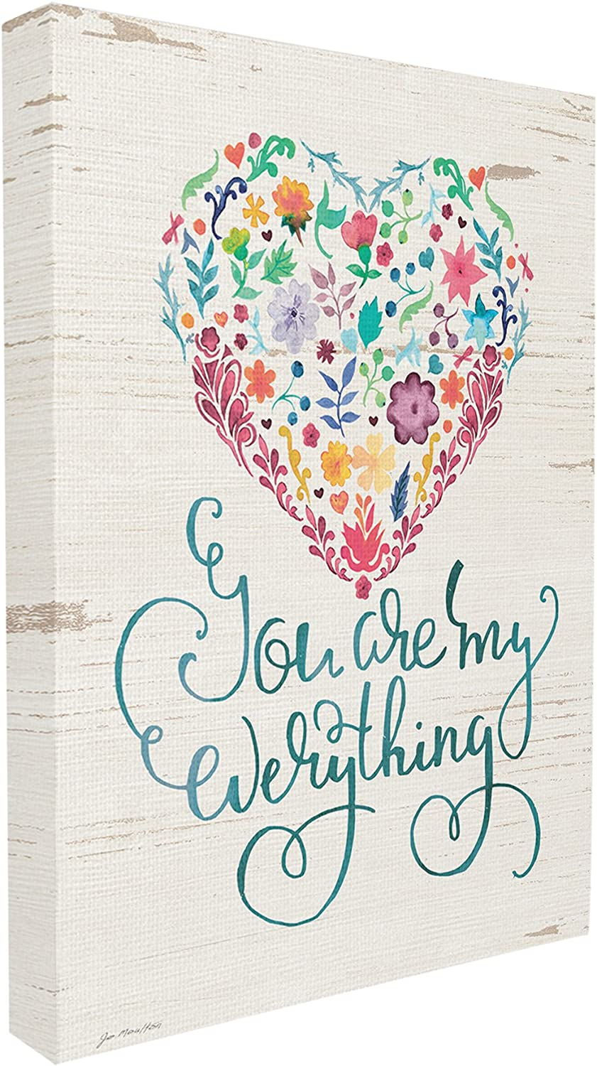 The Stupell Home Decor Collection You are My Everything Floral Heart Stretched Canvas Wall Art, 30 x 40, Multicolor