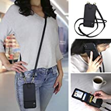 Crossbody Cell Phone Case and Wallet Compatible with iPhone Xr, Cross Body Phone Purse Bag with Five Card Slots Including Transparent ID Holder and Adjustable 48 to 54 Inch Strap