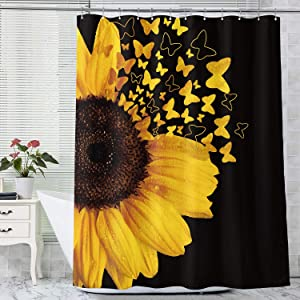 SVBright Sunflower Shower Curtain Butterfly Blooming Wild Floral 60Wx72L Inch Spring Plants Rustic Nature Garden 12 Pack Hooks Polyester Waterproof Fabric Bathroom Bathtub Panels