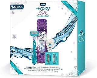 Schick Hydro Silk Sensitive Razors for Women Gift Set with 1 Hydro Silk Sensitive Razor, 3 Hydro Silk Sensitive Razor Blad...