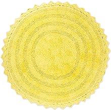 "DII 100% Cotton Crochet Round Luxury Spa Soft Bath Rug, for Bathroom Floor, Tub, Shower, Vanity, and Dorm Room, 28"" - Yellow"