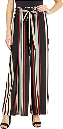 Wide Leg Striped Pants with Slit and Front Tie