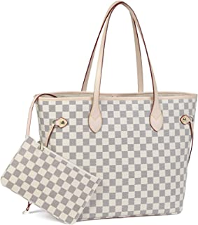 Daisy Rose Checkered Tote Shoulder Bag with inner pouch -...