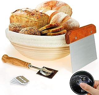"""10"""" Round Bread Banneton Proofing Basket for Sourdough, Includes Linen Liner, Metal Dough Scraper, Scoring Lame & Case, Ex..."""