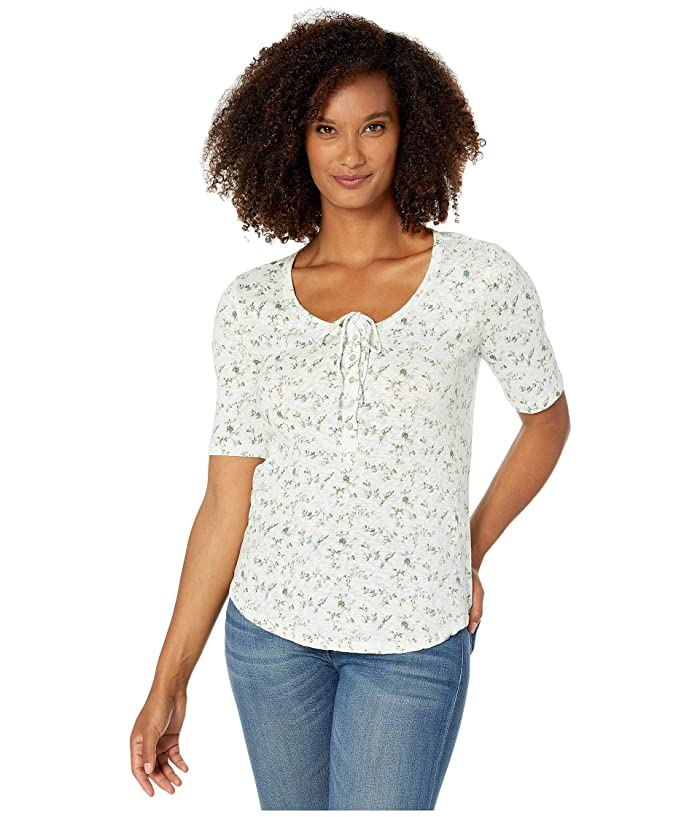 Lucky Brand  1/2 Sleeve Floral Top (White Multi) Womens Clothing
