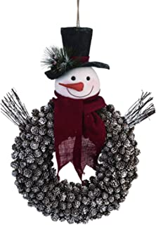 One Holiday Way Playful Snowman with Scarf Pinecone Wreath – Hanging Christmas Decoration