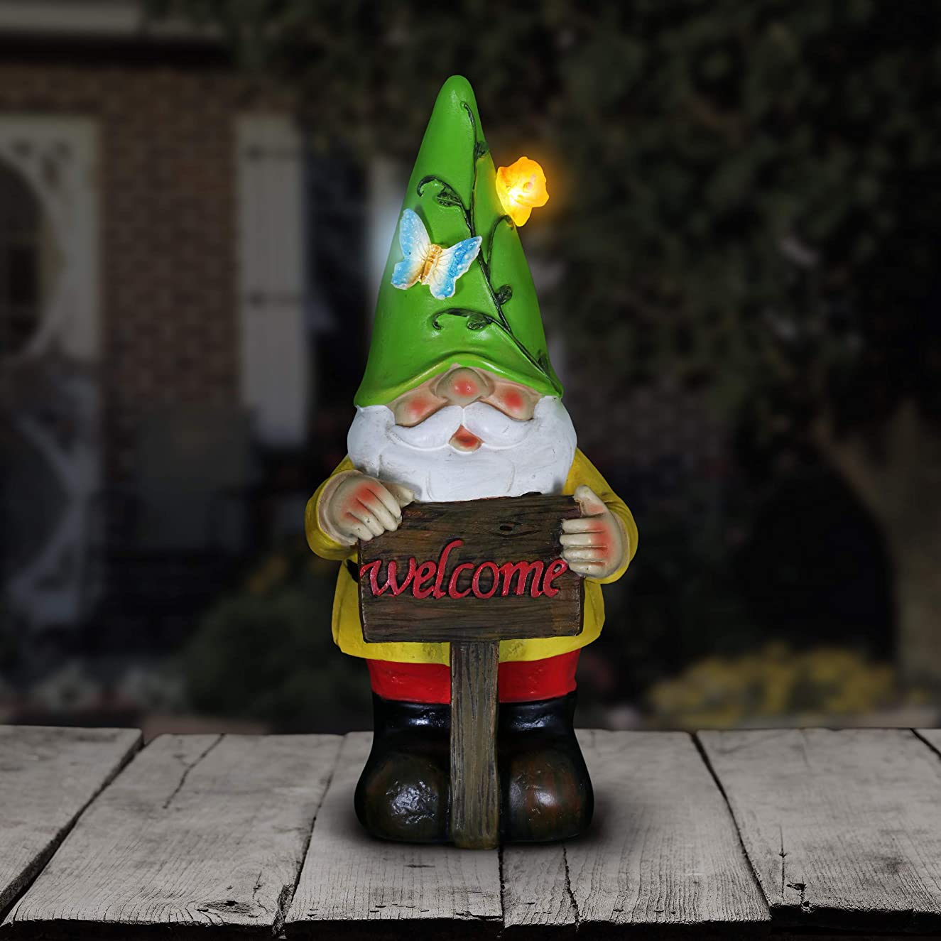 Exhart Solar Gnome Garden Statue w/Welcome Sign – Green Hat Gnome Resin Statue w/Wood-Like Welcome Sign - Solar Decor Lights in Butterfly & Snail Design - Elf Welcome Statue - 5