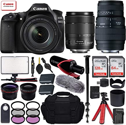 $1399 Get Canon EOS 80D DSLR Camera with EF-S 18-135mm f/3.5-5.6 is USM + Sigma 70-300mm f/4-5.6 DG Macro Lens for Canon EOS & All-in-One Professional Travel Bundle