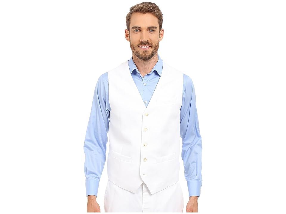 Perry Ellis Linen Suit Vest (Bright White) Men