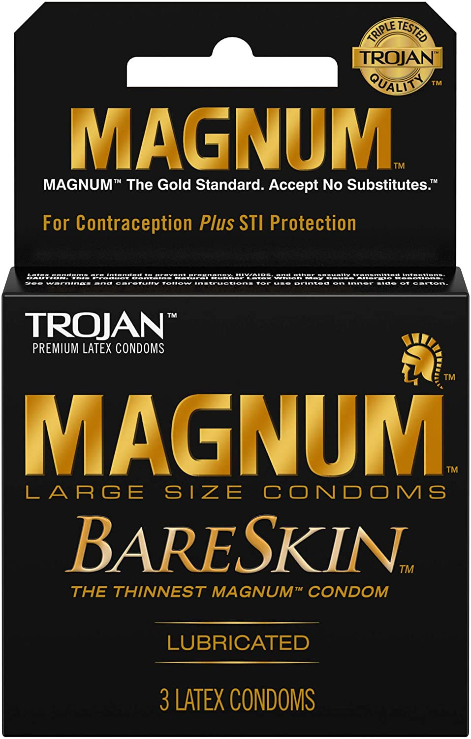 TROJAN Challenge the lowest price of Japan Magnum Year-end annual account Bareskin Lubricated Condoms 3 12 Pack of ea