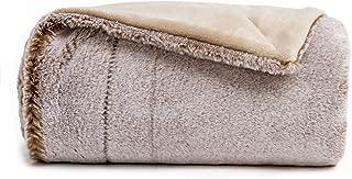 Sofila Faux Fur Throw Blanket Brown Mink Plush Fleece, Super Soft Warm Cozy Fuzzy for Sofa Couch Bed Home Decorative Luxury Elegant, Beige Mink, 50' x 60'