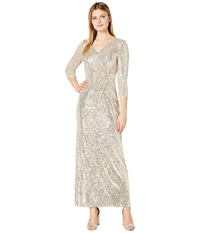 Alex Evenings Long Sequin Column Dress with Knot Front Detail (Taupe) Women