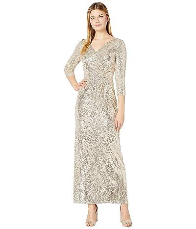 Alex Evenings Long Sequin Column Dress with Knot Front Detail