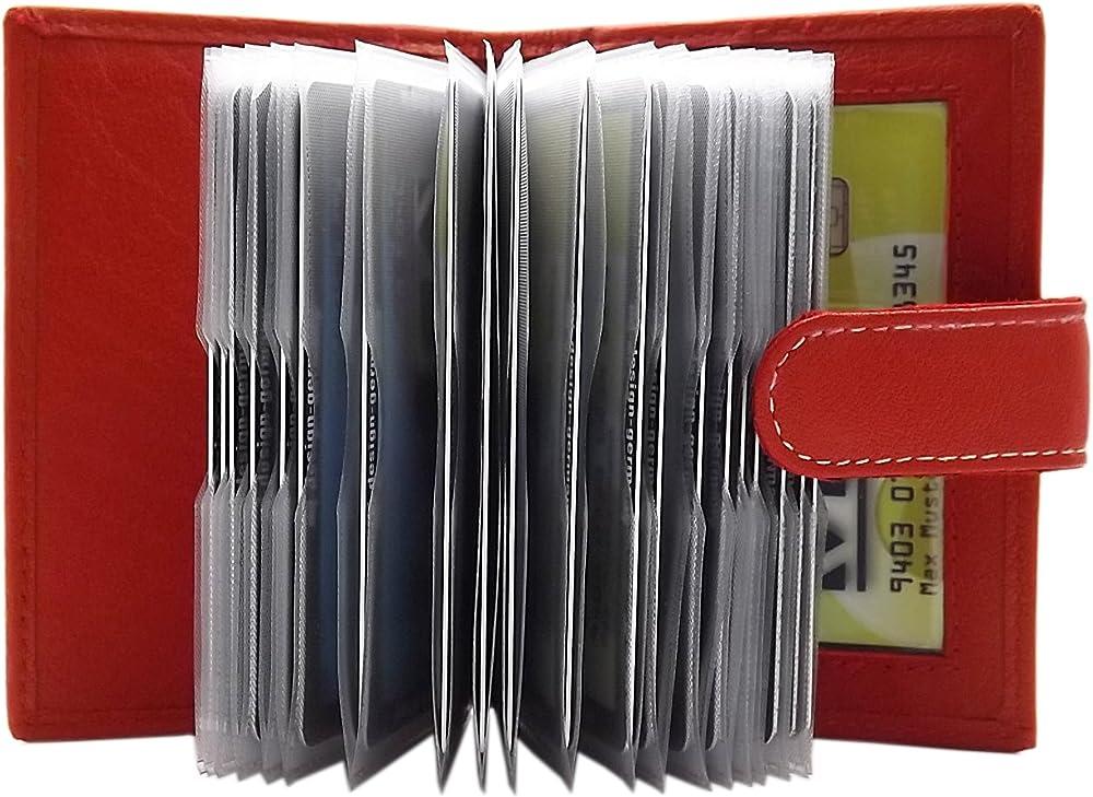 Myledershop, porta carte di credito con 22 scomparti, in vera pelle