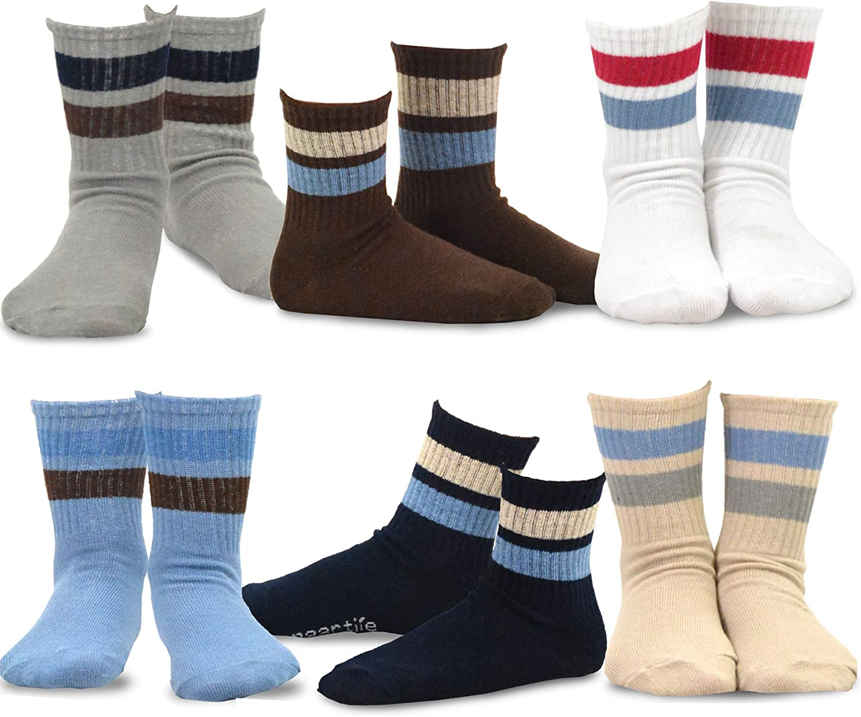 TeeHee Little Boys Basic Cotton Crew Socks 6 Pair Pack (18-24 Months, Sports Stripe)