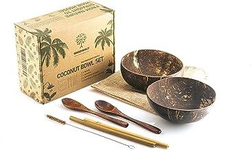GREENS'HUT Perfect eco-friendly coconut bowls (set of 2 bowls, 2 spoons and 2 straws) Handmade, Vegan, Natural, Reusable B...