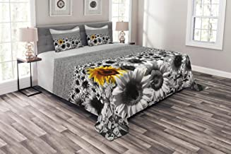 Lunarable Modern Bedspread, Sunflower Field Black and White with a Single Yellow Flower Spring Landscape Individuality, Decorative Quilted 3 Piece Coverlet Set with 2 Pillow Shams, King Size, Grey