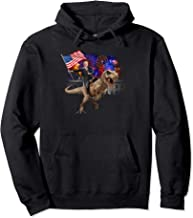 Trump Riding a Dinosaur T-rex-Trump 2020 and 4th of july Pullover Hoodie
