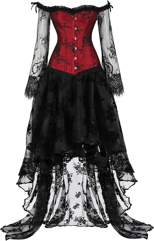 Red Corsets for Women's Black Dress Princess Renaissance Corset