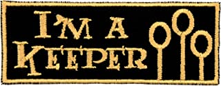 I'm a Keeper Patch Iron On Applique - Black, Nonmetallic Champagne Gold - 4