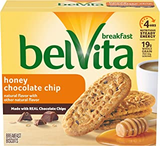 belVita Honey Chocolate Chip Breakfast Biscuits, 5 Packs (4 Biscuits Per Pack)