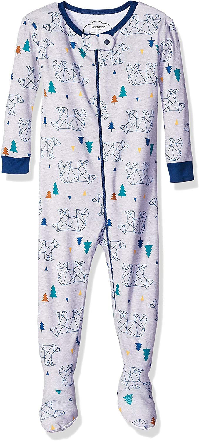 Lamaze Organic Baby Boys' Stretchie One Piece Sleepwear, Baby and Toddler, Footed, Zipper