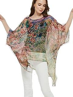 prettystern Donna Estivo Seta Chiffon Poncho Tunica Kimono Camicetta Vestito dalla Spiaggia di Estate One Size