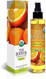 US Organic Body Oil - Fresh Orange - Jojoba and Avocado Oil with Vitamin E, USDA Certified Organic, No Alcohol, Paraben, A...