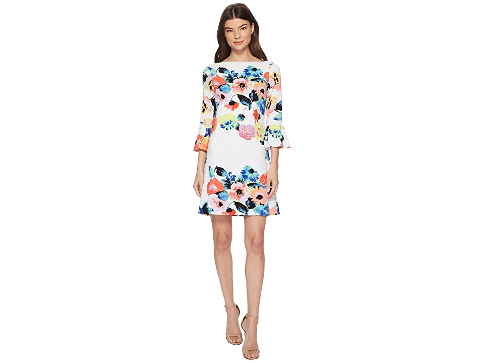 Tahari by ASL Trumpet Sleeve Floral Shift Dress (Ivory/Coral/Lilac) Women