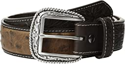 Tooled Tab Ostrich Belt
