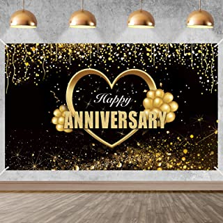 Yoaokiy Happy Anniversary Banner Sign Decorations, Extra Large Wedding Anniversary Party Backdrop Supplies, Black Gold Ann...