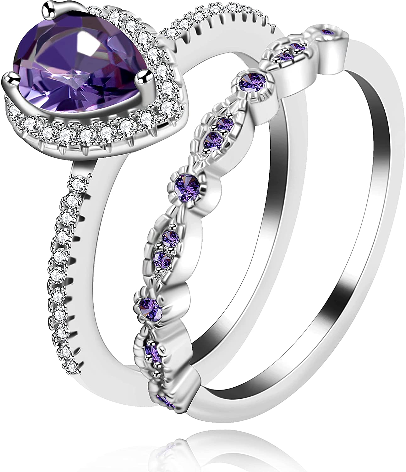 Pear-Shaped Purple CZ Teardrop Solitaire Ring Milgrain Eternity Band Stacked Engagement Rings 2pc Set ZY137