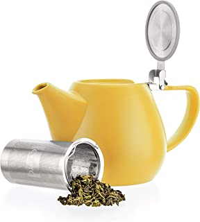 Tealyra - Jove Porcelain Large Teapot Yellow - 34.0-ounce (3-4 cups) - Japanese Made - Stainless Steel Lid and Extra-Fine Infuser To Brew Loose Leaf Tea - 1000ml