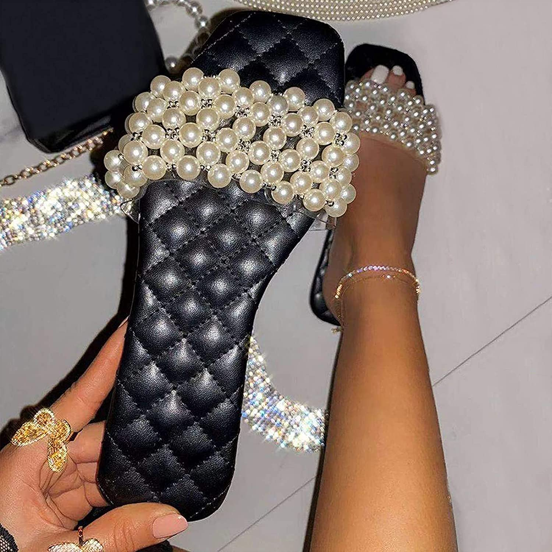 RSDZSW Women Flat Sandals Pearl Ladies Fashion Low Heel Sandals Open Toe Summer Beach Slide Comfortable Leather Strappy Outdoor