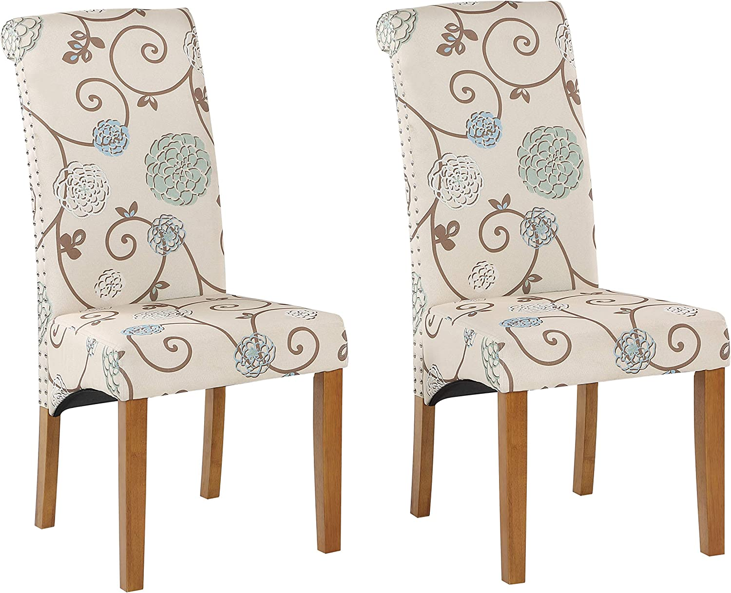 Retro Floral Fabric Natural Wooden Room Dining New sales Chair Kitchen Leg Mail order cheap