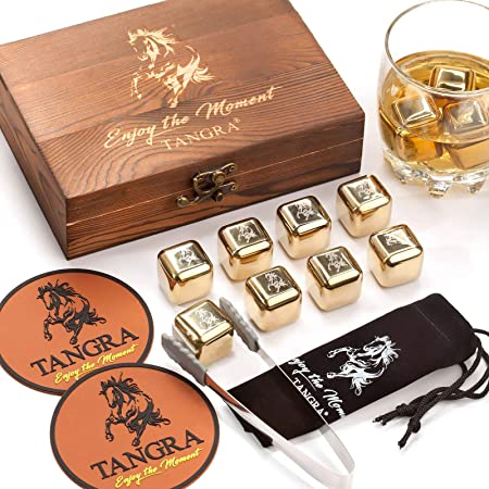 Whiskey Stainless Steel Stones Gift Set of 8 Golden Ice Cubes. Reusable Chilling Rocks in Wooden Box. Cool Gift Ideas for Men Dad Groomsman Husband Wedding Father's Day Birthday Anniversary by TANGRA