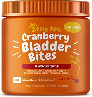 Zesty Paws Cranberry for Dogs - UT Incontinence Support + Immune Health Dog Antioxidant - Urinary Tract UTI & Kidney + Bla...