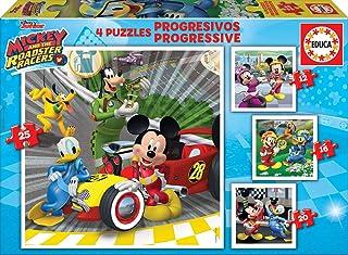Educa Disney Mickey Top Départ. 4 Puzzles Progressifs Enfant 12/16/20/25 pièces. +3 Ans. Ref. 17629