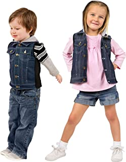 ZooVaa Weighted Vest/Jacket for Kids - Children's Denim Weighted Compression Vest w/Hoodie/Jacket and Removable Weights