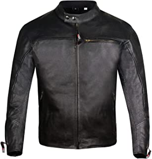Men's Raider Ventilated Motorcycle Leather Street Cruiser Armor Biker Jacket L