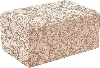 subrtex Jacquard Damask Stretch Oversize Storage Ottoman Slipcover Protector Spandex Elastic Rectangle Footstool Sofa Slip...