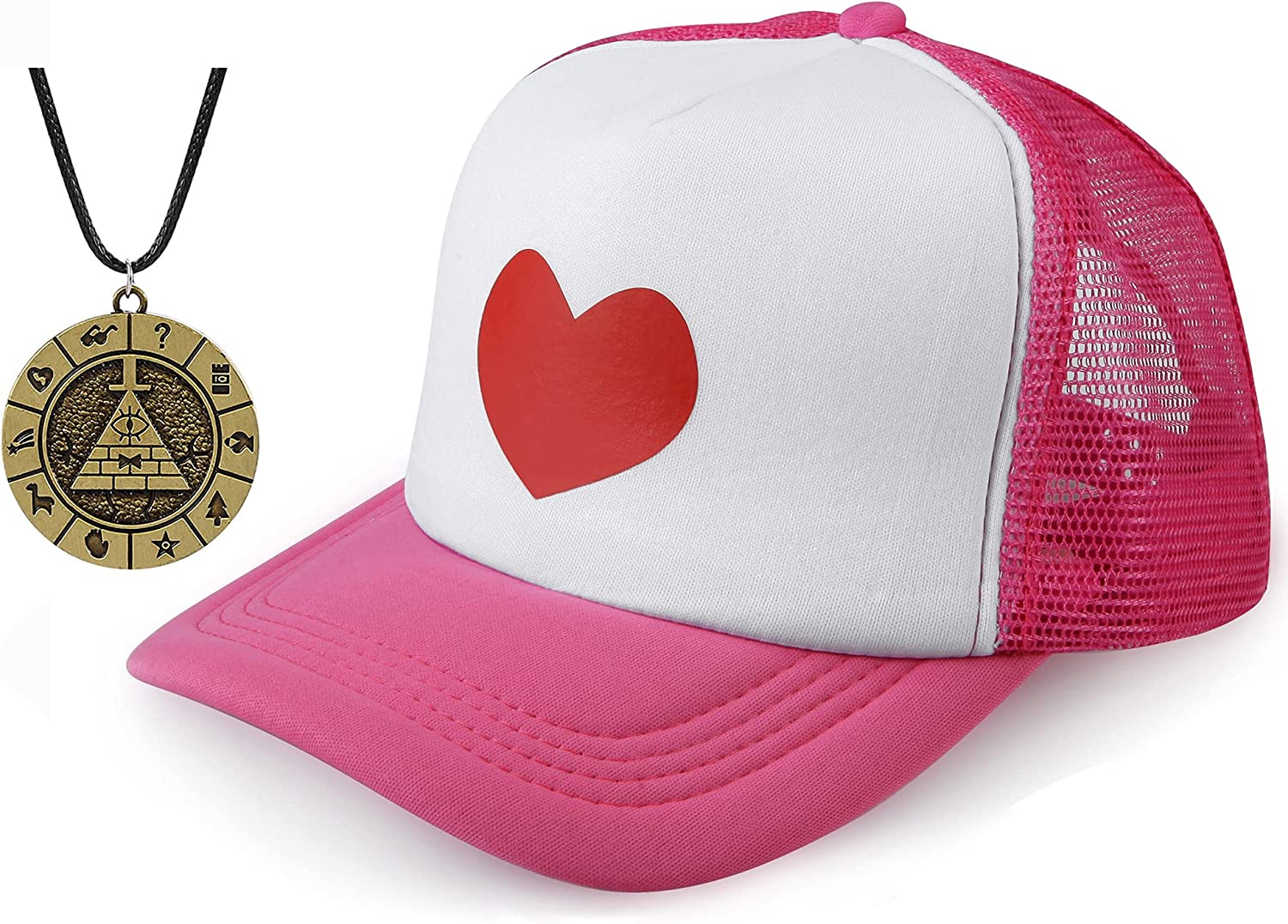 EIKOU Gravity Falls Mabel's Hat Pink Dipper's Hat Pink Dipper Aqua Blue Pine Hat Embroidered【Come with The Necklace】