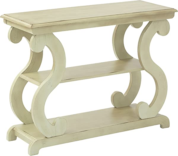 Office Star Ashland Console Table In Antique Celedon Finish
