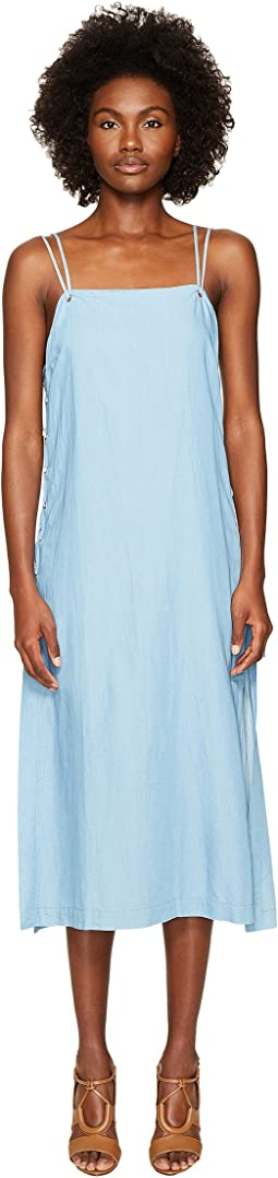Jonathan Simkhai - Chambray Denim Lace-Up Maxi Dress Cover-Up