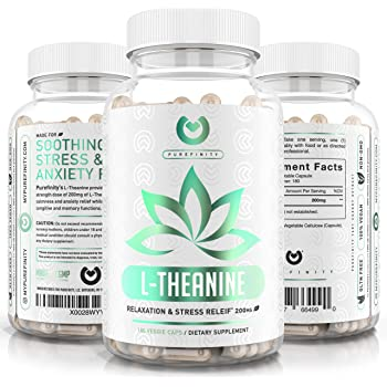 L-Theanine 200mg - Max Strength | 6 Month Supply - Premium Stress Relief, Focus & Relaxation Supplement - Vegetarian, Gluten Free & Non-GMO - 180 Vegetable Capsules