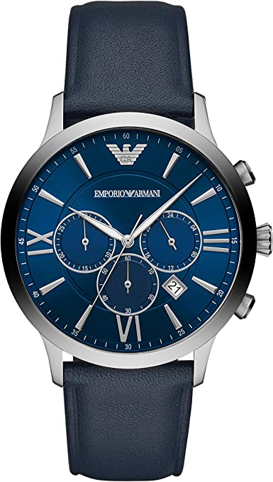 Emporio Armani Men's Quartz Watch chronograph Display and Leather Strap, AR11226