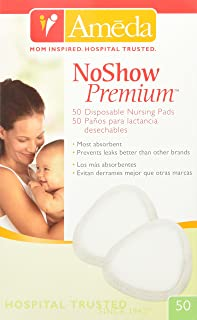 Ameda Noshow Premium Disposable Nursing Pads 50-Count, Helps Prevent Breast Milk Leaks Onto Clothing, High-Absorbency Disp...