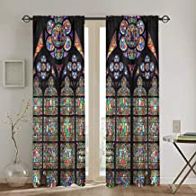 Windows of Flowers at Notre Dame Cathedral in Paris Blackout Curtains for Bedroom Thermal Insulated Grommet Or Punch Drapes 2 Panels Set