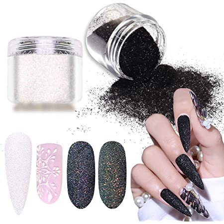 Amazon Com Laza Nail Glitter Powder Shining Sugar Effect Glitter Black White Dust Sand Powder Candy Coat Manicure Nail Art Decoration For Nail Art Tips Decoration Diy Crafts Beauty