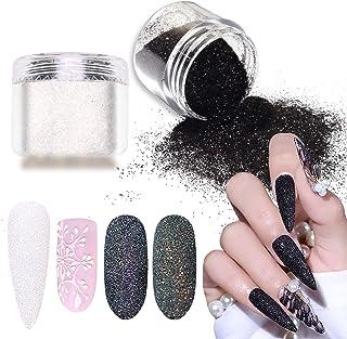Laza Nail Glitter Powder Shining Sugar Effect Glitter Black White Dust Sand Powder Candy Coat Manicure Nail Art Decoration...